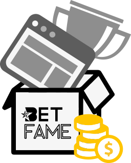 Trophy and coins in box labeled with Betfame logo